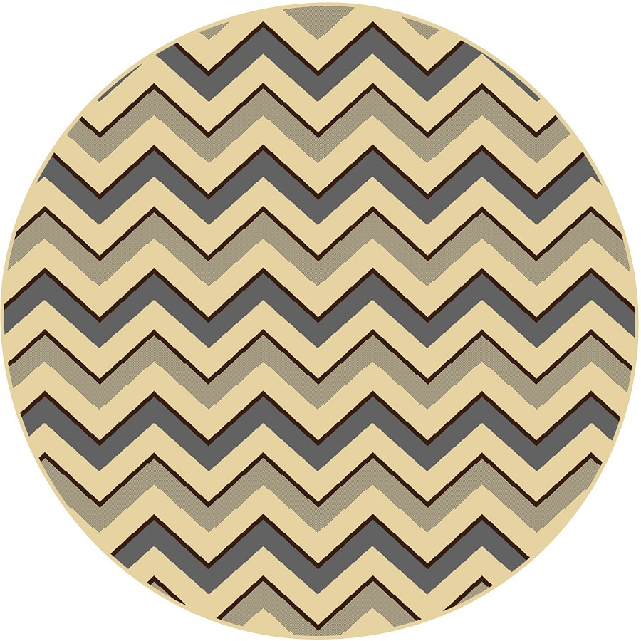 Home Dynamix Caracas Gray and Ivory Round Indoor Woven Area Rug (Common: 8 x 8; Actual: 94-in W x 94-in L)