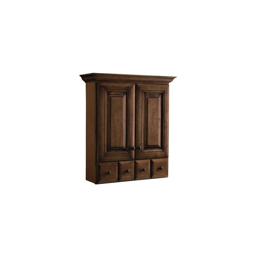 allen + roth Ballantyne 28.39-in W x 31.28-in H x 9.19-in D Mocha with Ebony Glaze Bathroom Wall Cabinet
