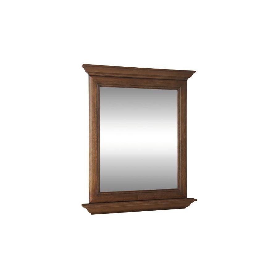 allen + roth Ballantyne 30-in W x 34-in H Mocha with Ebony Glaze Rectangular Bathroom Mirror