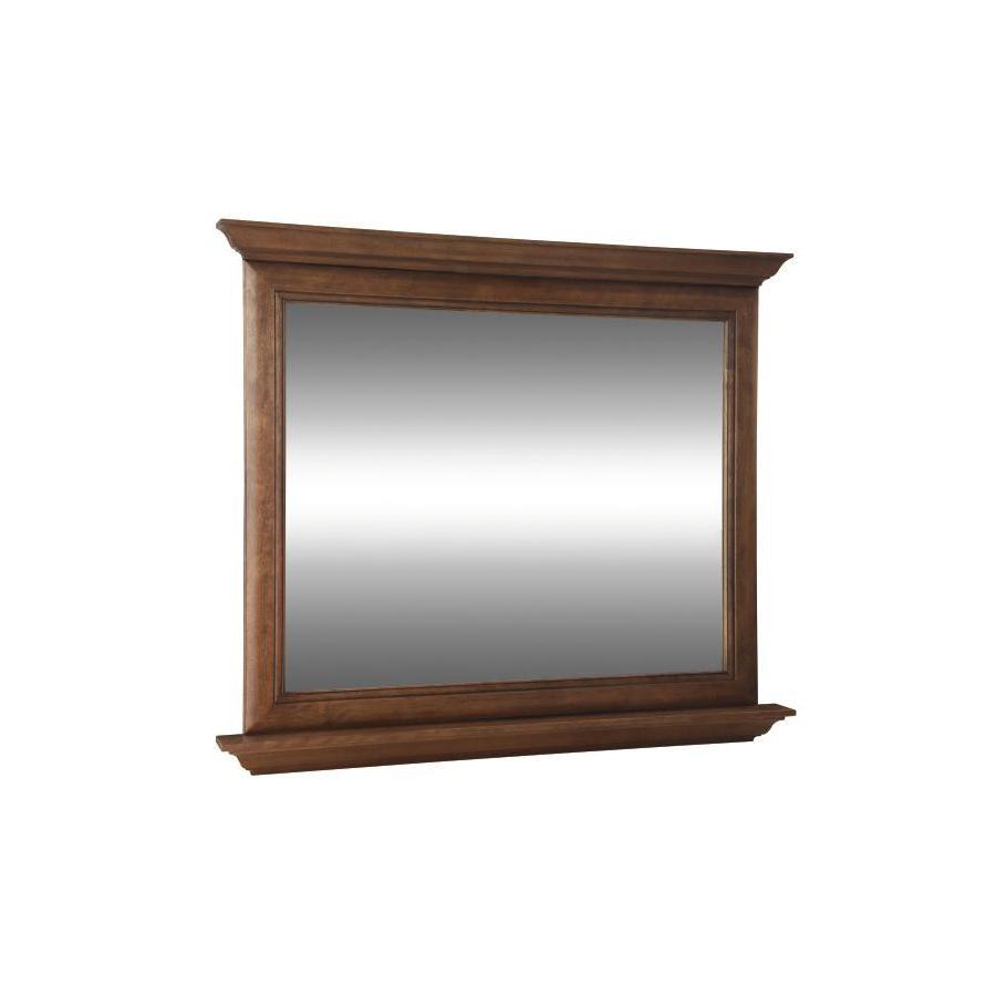 allen + roth Ballantyne 42-in W x 34-in H Mocha with Ebony Glaze Rectangular Bathroom Mirror