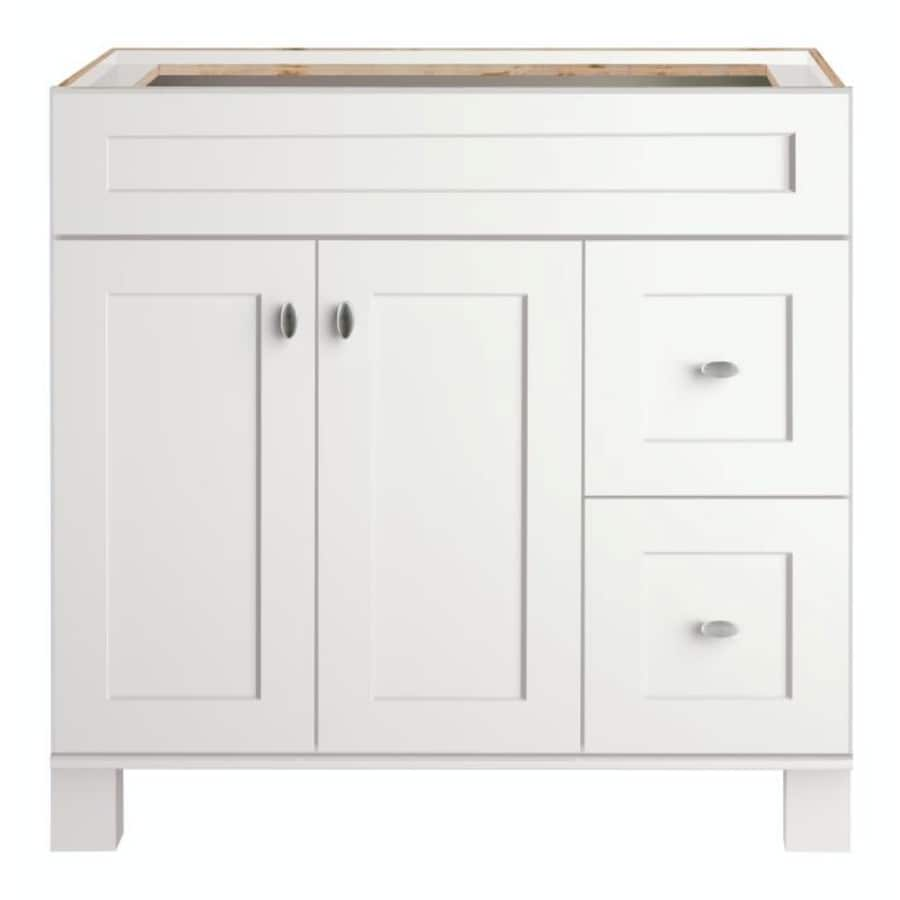 Shop Allen Roth Palencia White Transitional Bathroom Vanity Common 36 In X 21 In Actual 36