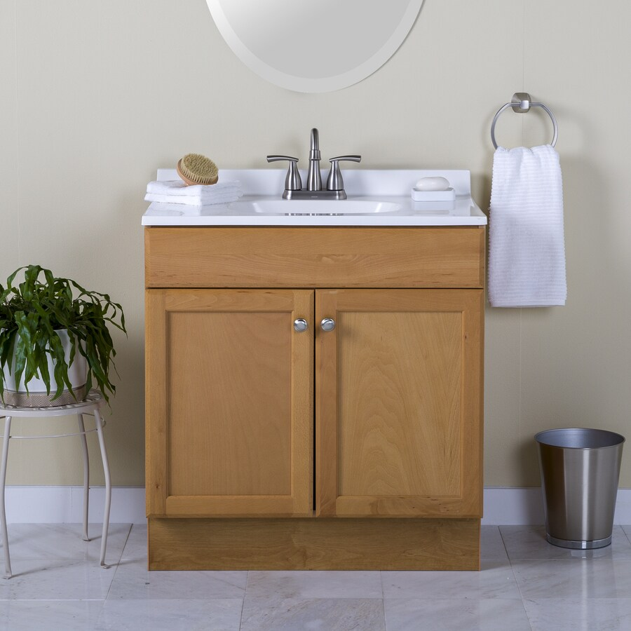 Project Source Oak Integral Single Sink Bathroom Vanity with Cultured Marble Top (Common: 36-in x 19-in; Actual: 36.5-in x 18.6-in)