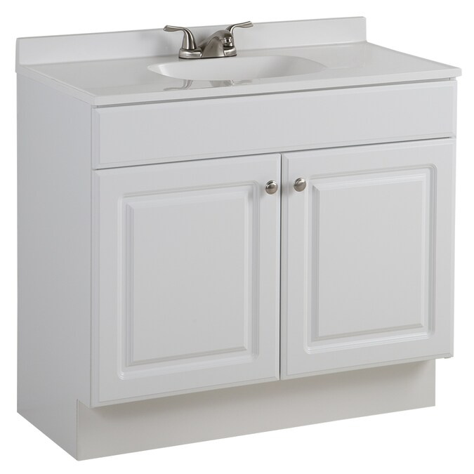 Project Source 36 5 In White Single Sink Bathroom Vanity With White Cultured Marble Top In The Bathroom Vanities With Tops Department At Lowes Com