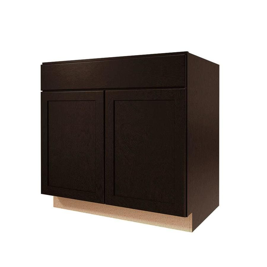 Shop kitchen classics brookton 33 in w x 35 in h x d espresso door and drawer base Kitchen cabinets 75 off
