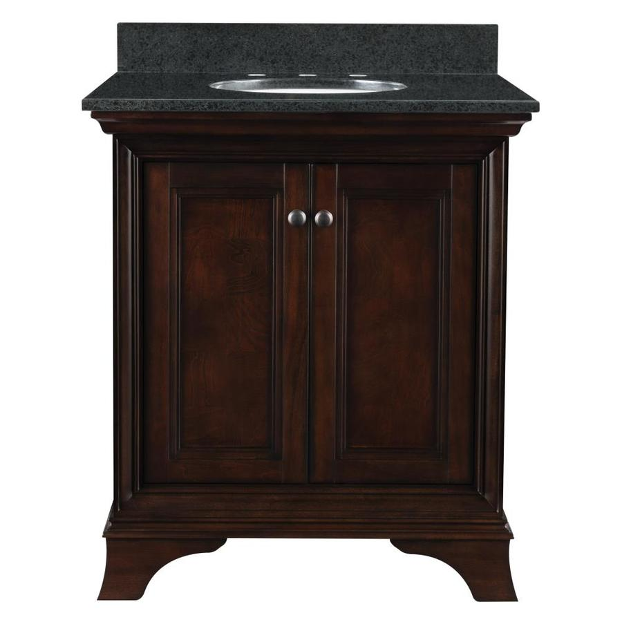 Shop allen roth eastcott auburn undermount single sink bathroom vanity with granite top Used bathroom vanity with sink