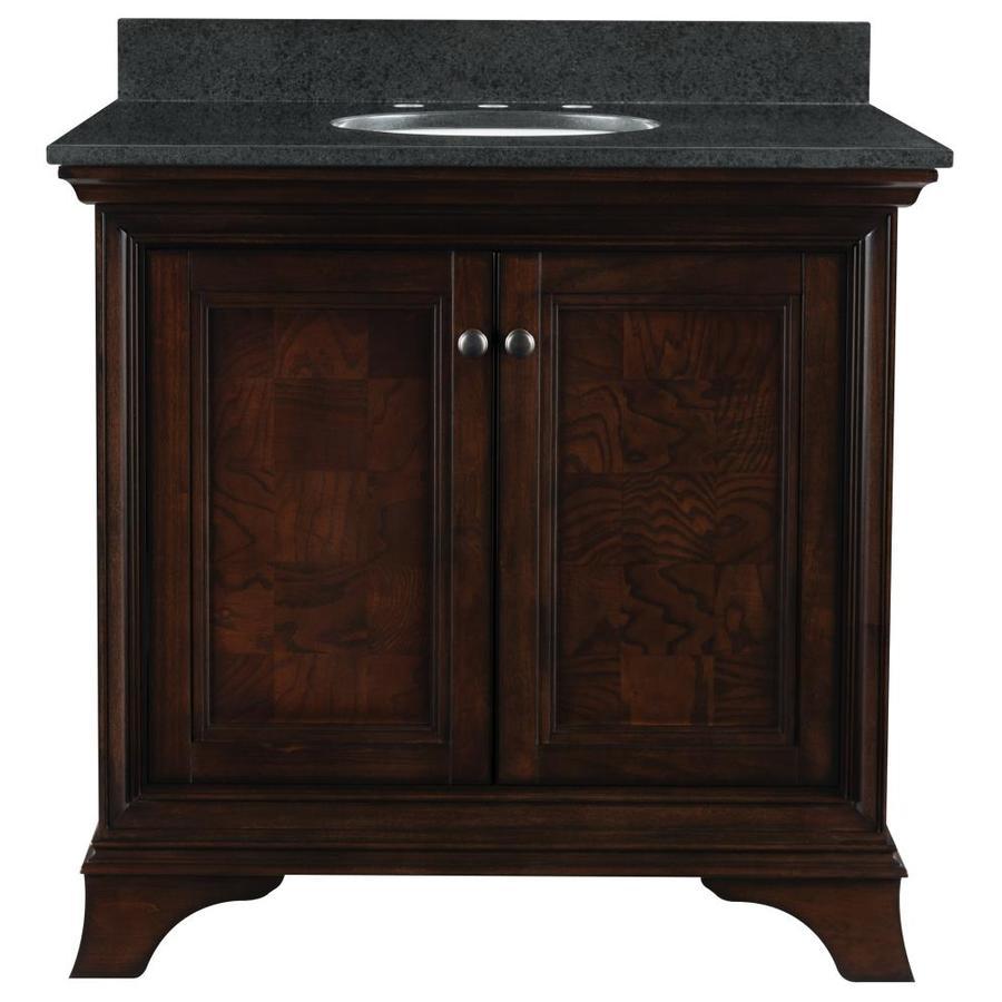 allen + roth Eastcott Auburn Undermount Single Sink Bathroom Vanity with Granite Top (Common: 37-in x 21-in; Actual: 36.92-in x 21.96-in)