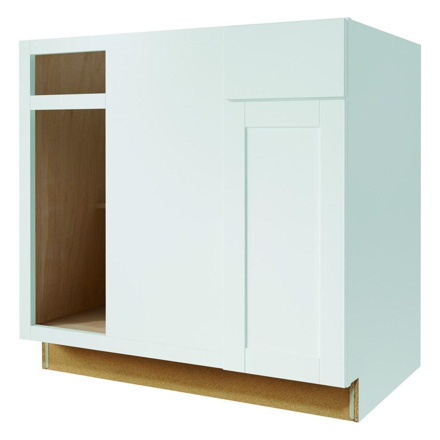 Kitchen Classics Arcadia 36-in W x 35-in H x 23.75-in D White Shaker Blind Corner Base Cabinet