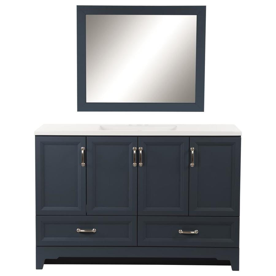 Style Selections 48 In Navy Single Sink Bathroom Vanity With White Cultured Marble Top Mirror Included In The Bathroom Vanities With Tops Department At Lowes Com