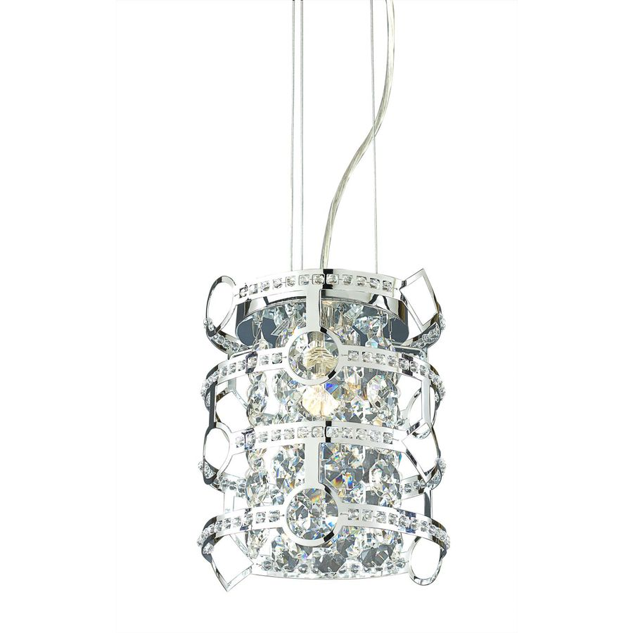 Style Selections Kentley 8-in Chrome Crystal Hardwired Mini Drum Pendant