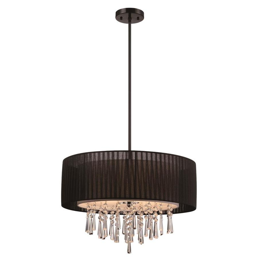 Style Selections Penchant 22.84-in Black Hardwired Single Drum Pendant