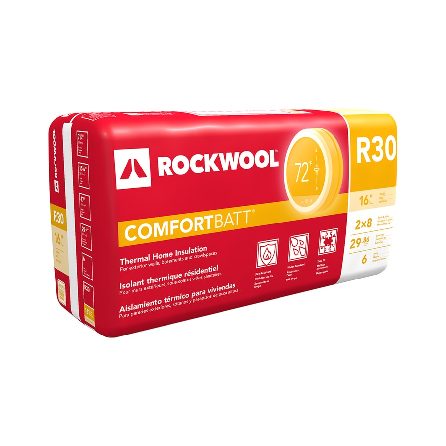 Roxul Wood Stud R30 29.9-sq ft Unfaced Stone Wool Batt Insulation with Sound Barrier (15.25-in W x 47-in L)