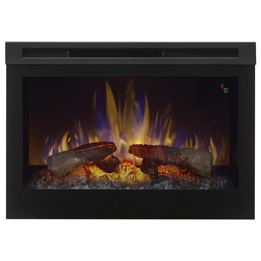 Shop Dimplex 26-in W 5,118-BTU Black Wood Veneer Fan-Forced Electric Fireplace with Thermostat ...
