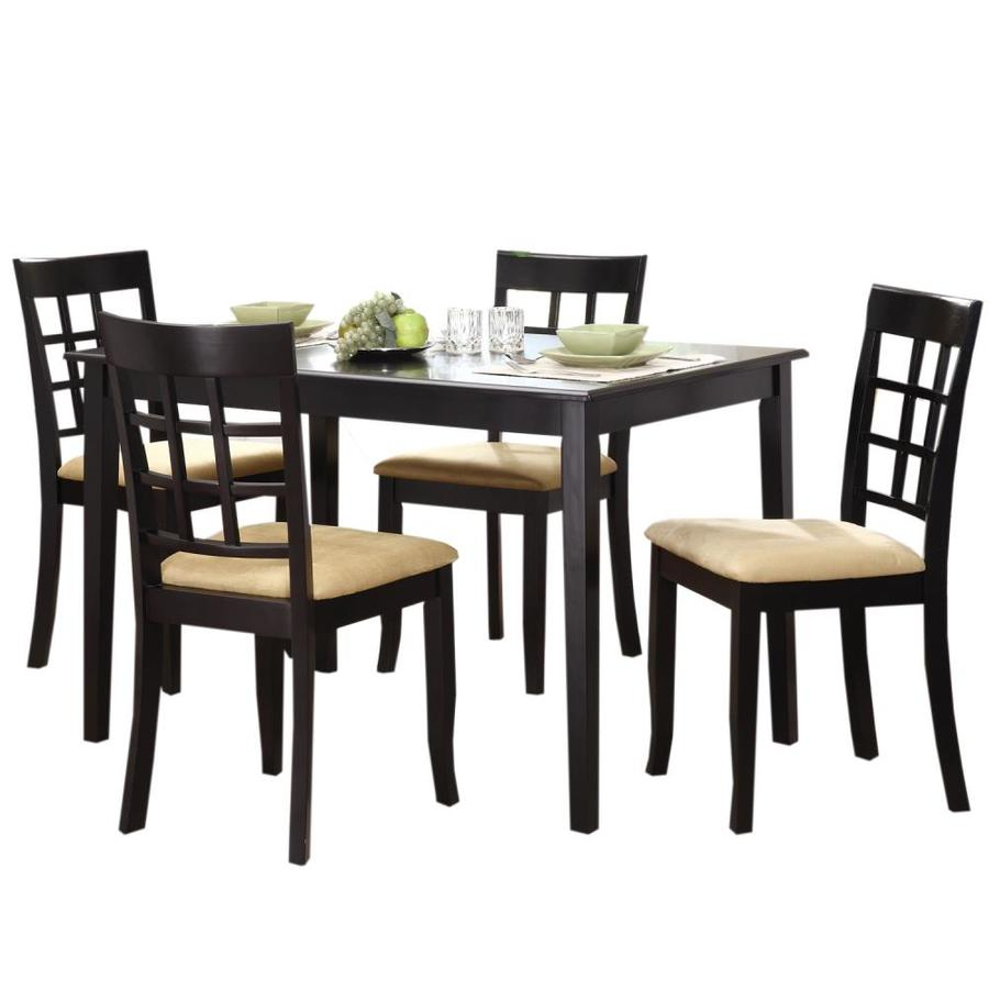 Shop home sonata decor black dining set with rectangular for Black dining table