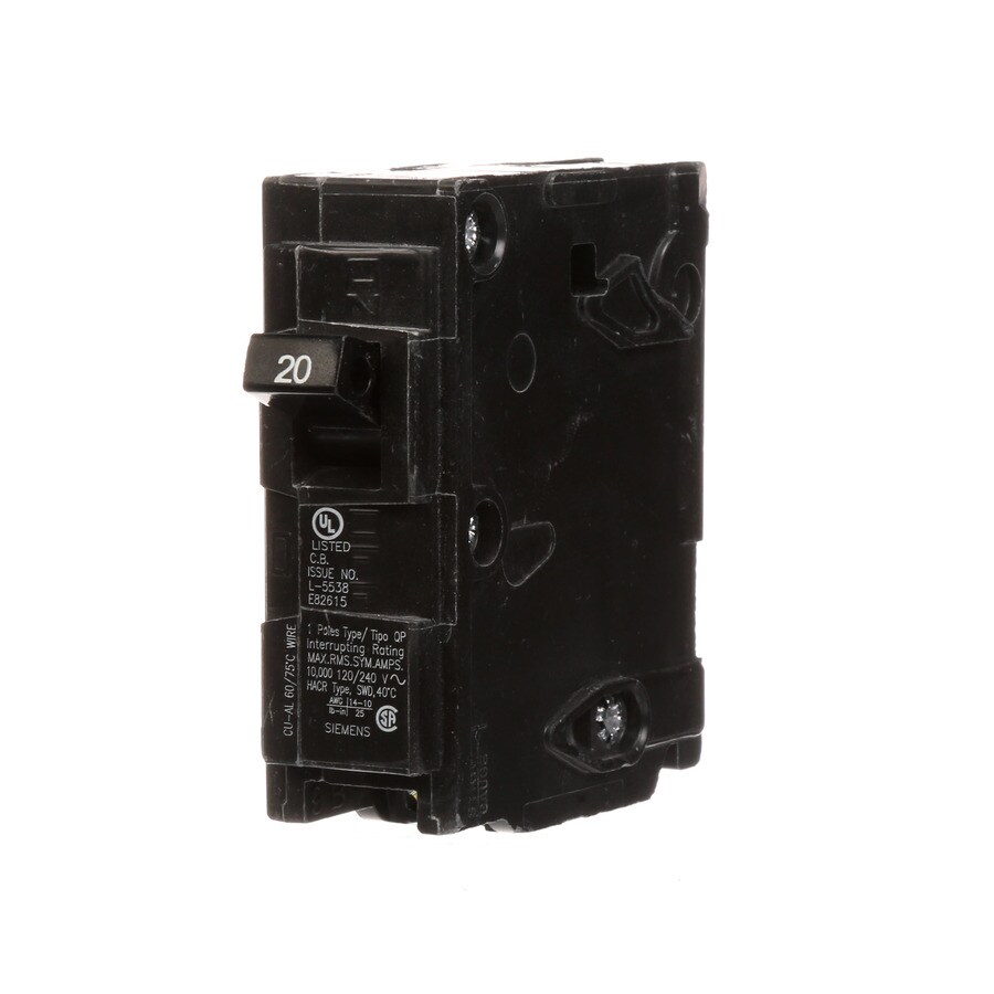 Siemens QP 20-Amp 1-Pole Single-Pole Circuit Breaker