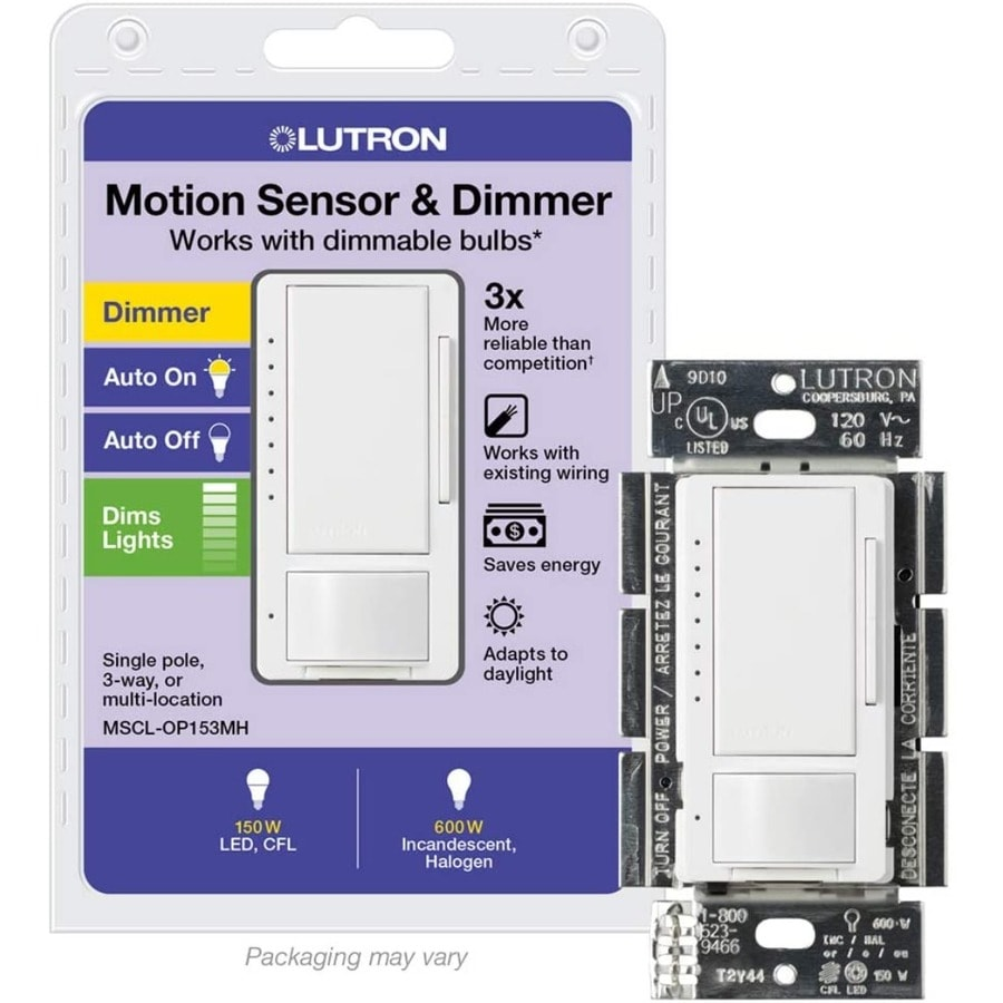 shop lutron maestro 1 switch 150 watt double pole 3 way 4 way white motion occupancy sensor at. Black Bedroom Furniture Sets. Home Design Ideas