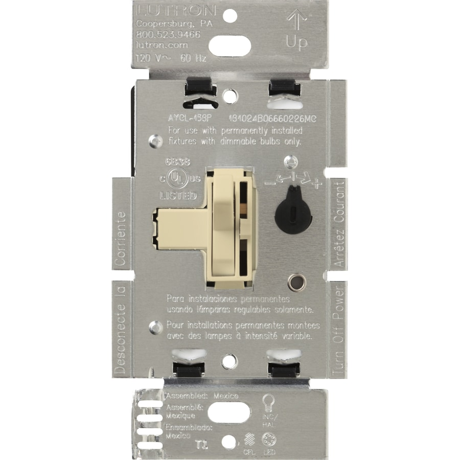 Lutron Toggler 240-Watt 3-Way Double Pole Ivory Indoor Toggle Dimmer
