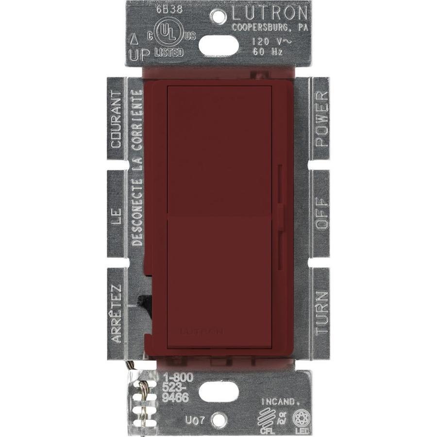 Lutron Diva 240-Watt 3-Way Double Pole Merlot Indoor Slide Dimmer