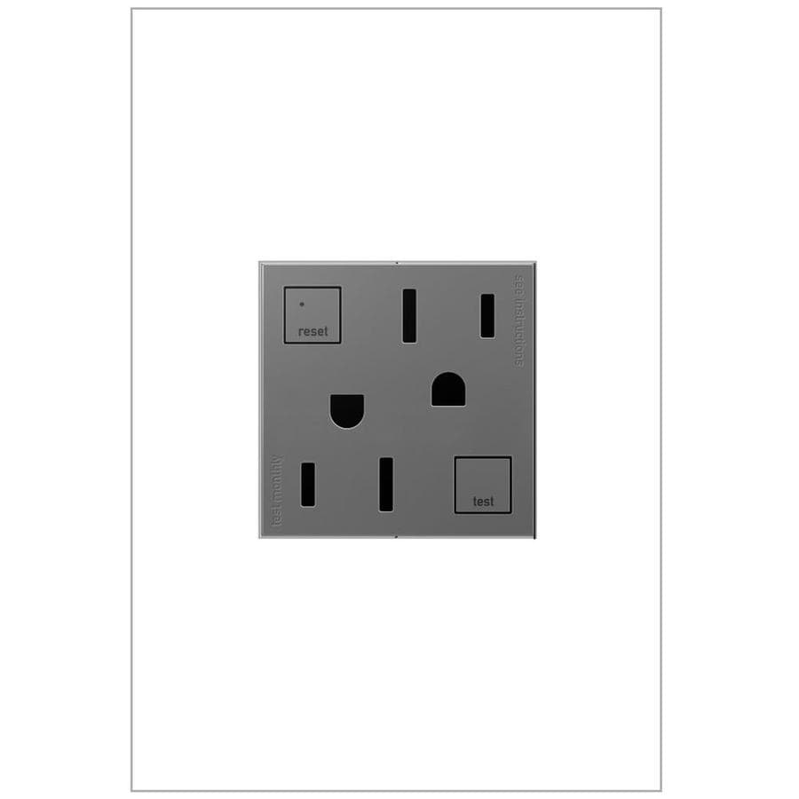 Legrand adorne 15-Amp 125-Volt Magnesium GFCI Square Tamper Resistant Electrical Outlet