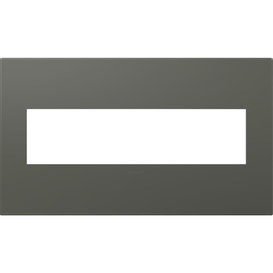 Legrand adorne 4-Gang Soft Touch Moss Grey Quad Square Wall Plate