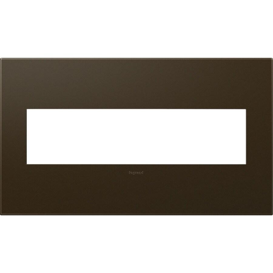 Legrand adorne 4-Gang Bronze Quad Square Wall Plate