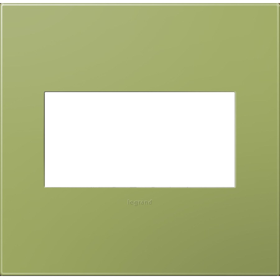 Legrand adorne 2-Gang Lichen Green Double Square Wall Plate