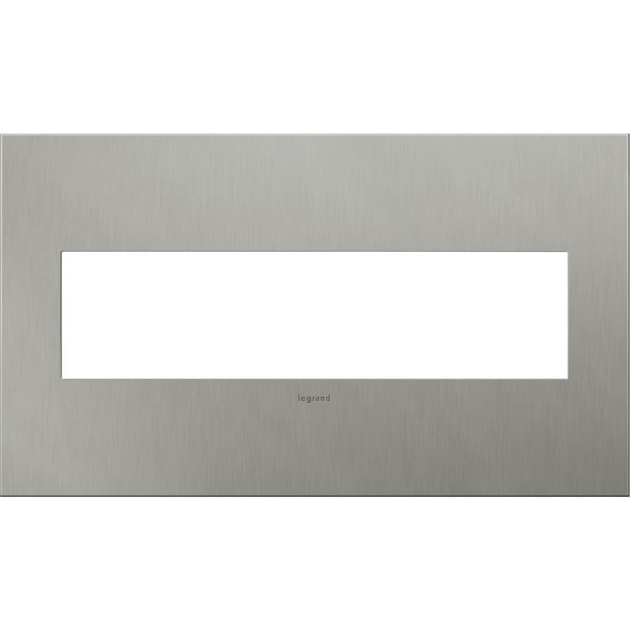 Legrand adorne 4-Gang Brushed Stainless Steel Quad Square Wall Plate
