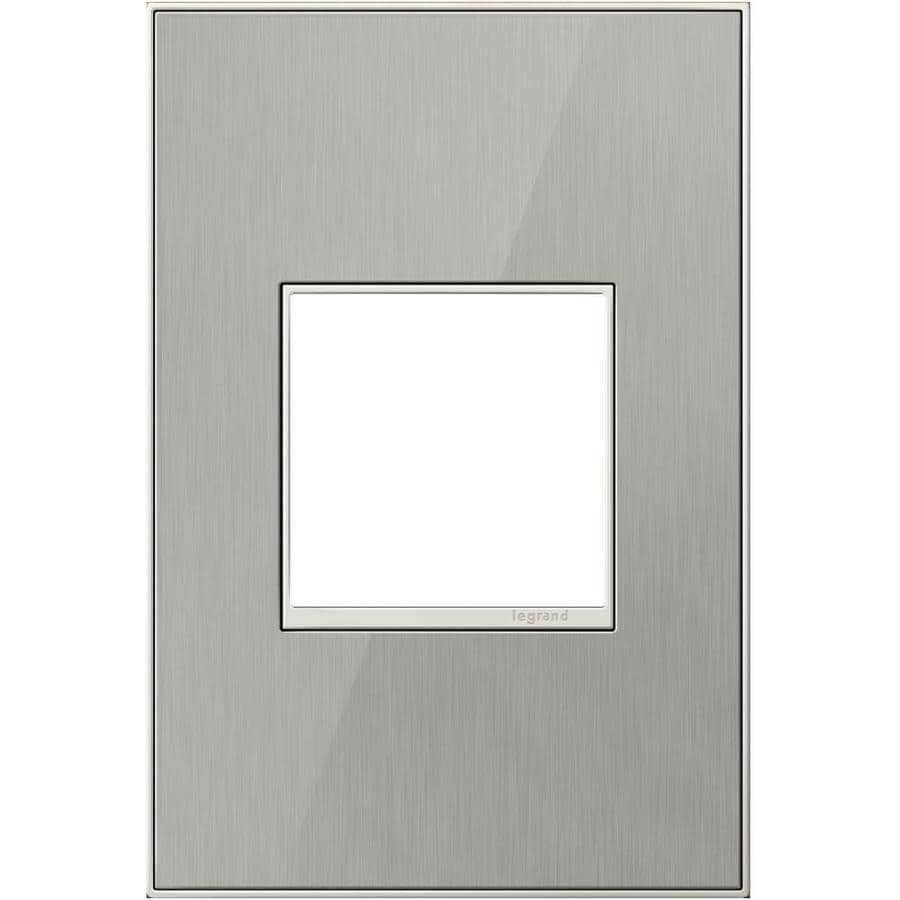 Legrand adorne 1-Gang Brushed Stainless Single Square Wall Plate