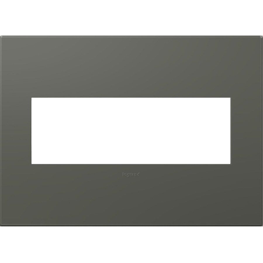 Legrand adorne 3-Gang Soft Touch Moss Grey Triple Square Wall Plate