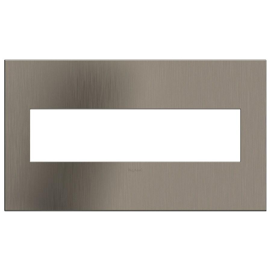 Legrand adorne 4-Gang Satin Nickel Quad Square Wall Plate