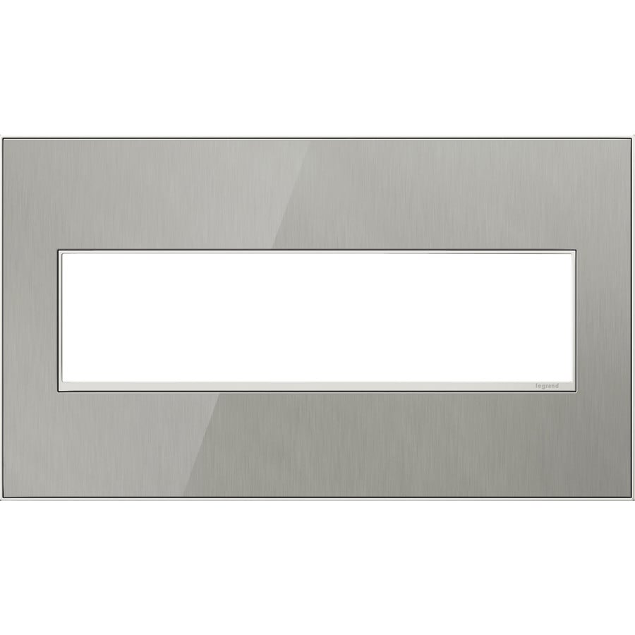 Legrand adorne 4-Gang Brushed Stainless Quad Square Wall Plate
