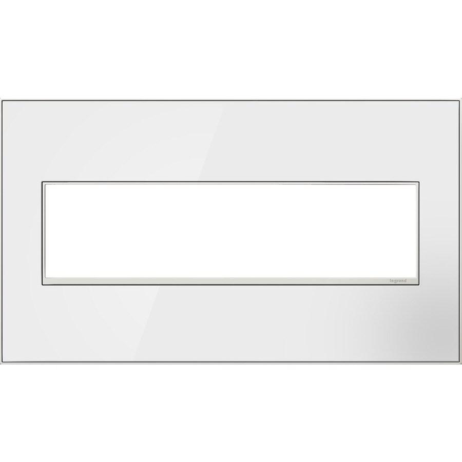 Legrand adorne 4-Gang Mirror White Quad Square Wall Plate