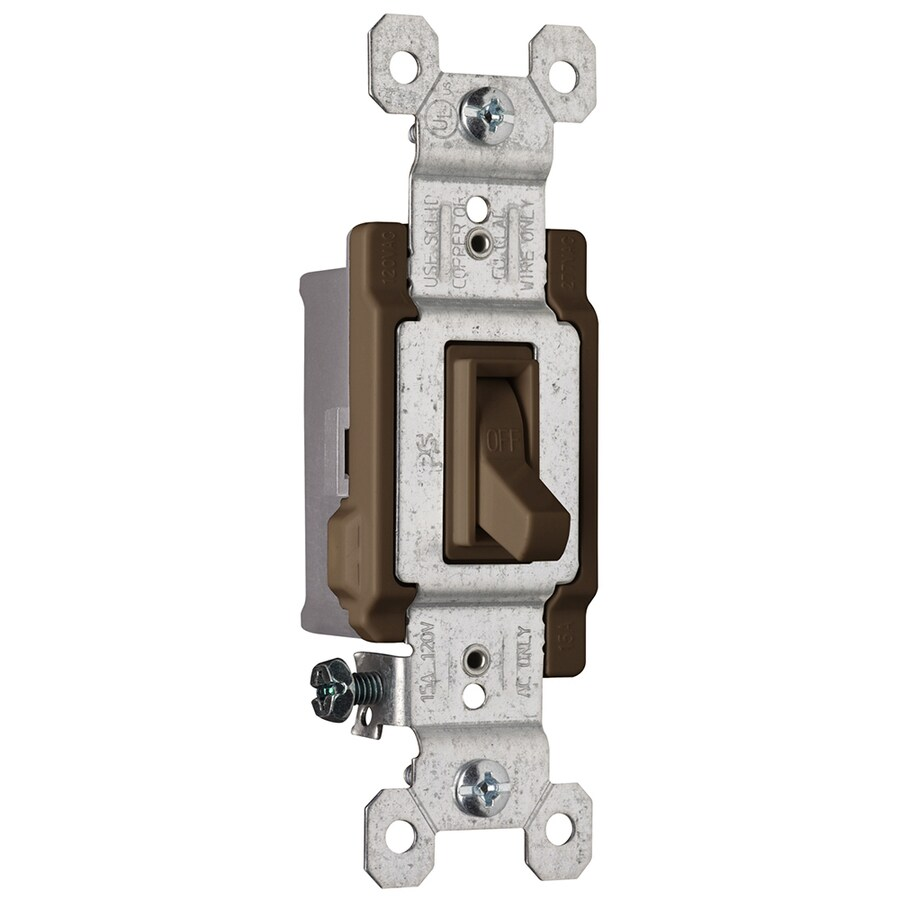 Pass & Seymour/Legrand 15-Amp Single Pole Brown Indoor Framed Toggle Light Switch