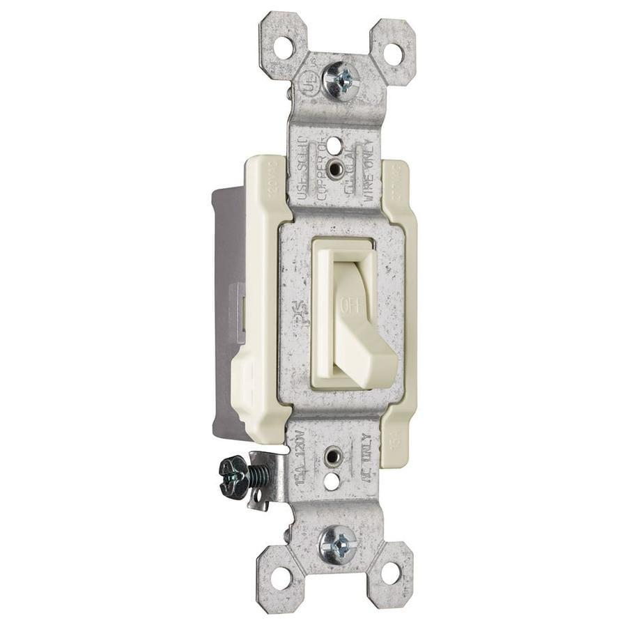 Pass & Seymour/Legrand 15-Amp Single Pole Light Almond Indoor Framed Toggle Light Switch