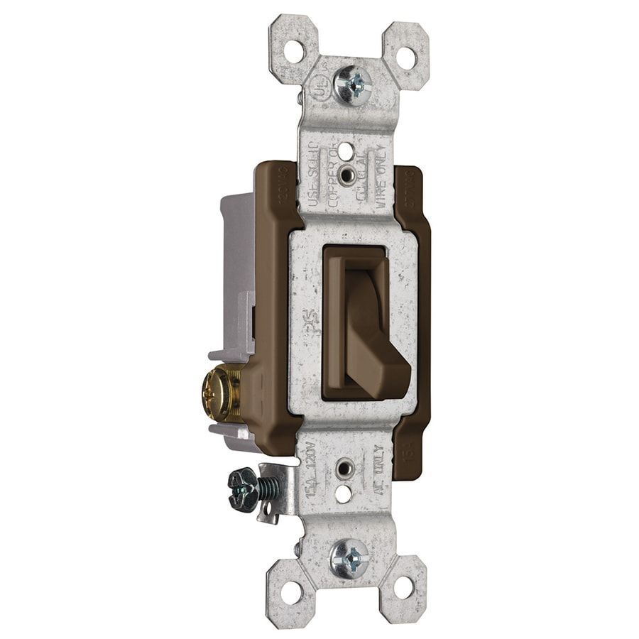 Pass & Seymour/Legrand 15-Amp 3-Way Single Pole Brown Indoor Framed Toggle Light Switch