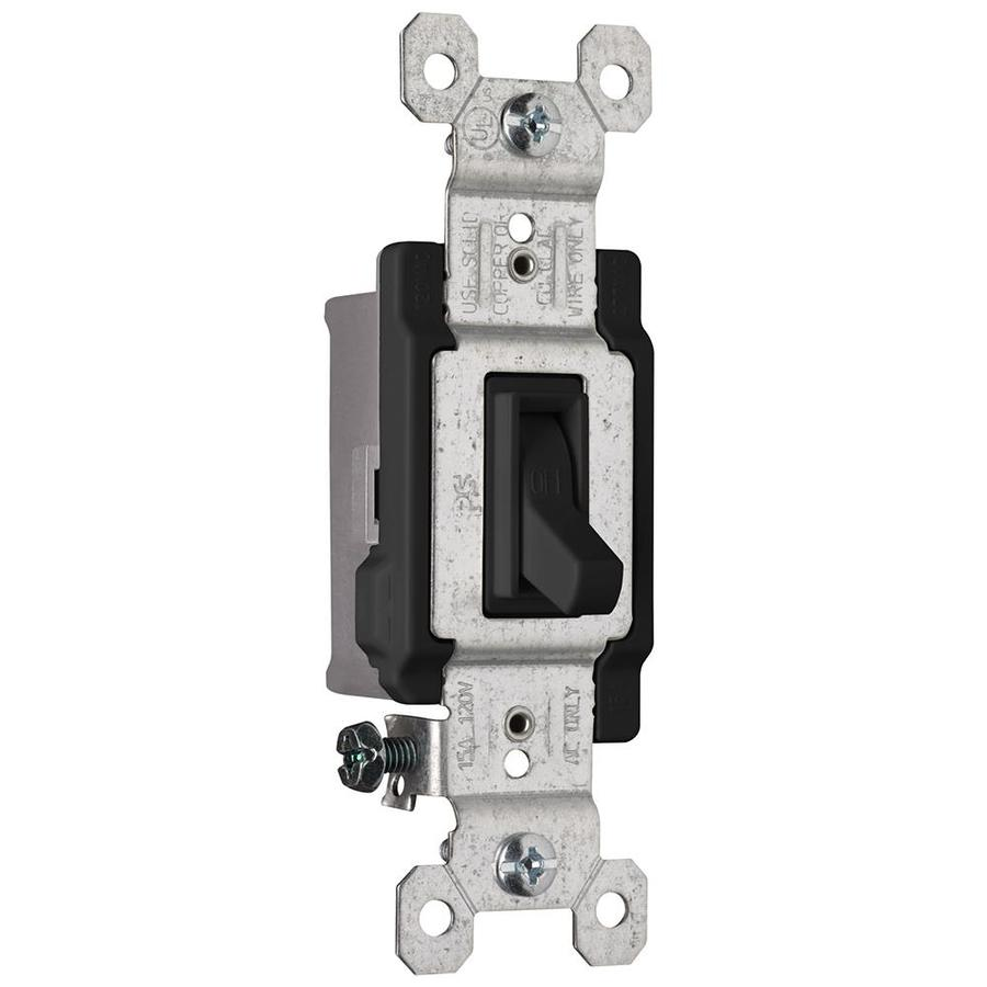 Pass & Seymour/Legrand 15-Amp Single Pole Black Indoor Framed Toggle Light Switch