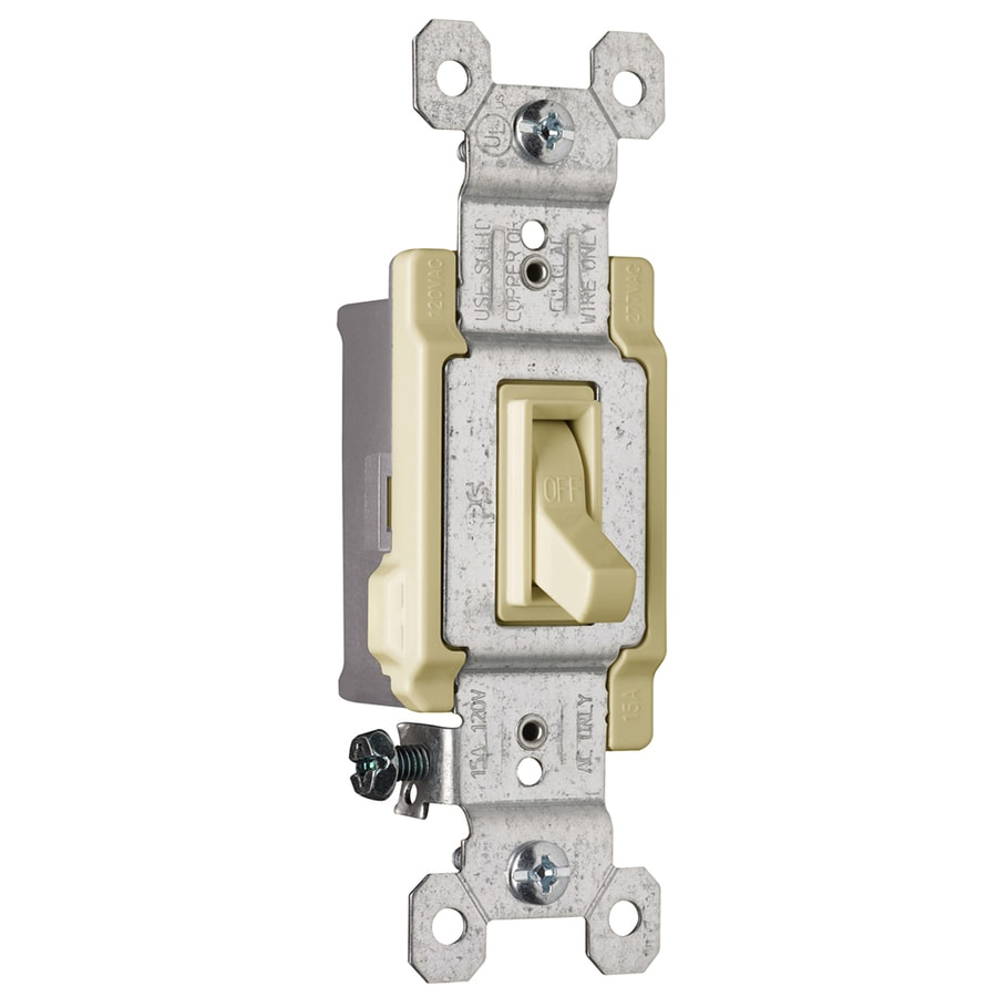 Pass & Seymour/Legrand 15-Amp Single Pole Ivory Indoor Framed Toggle Light Switch