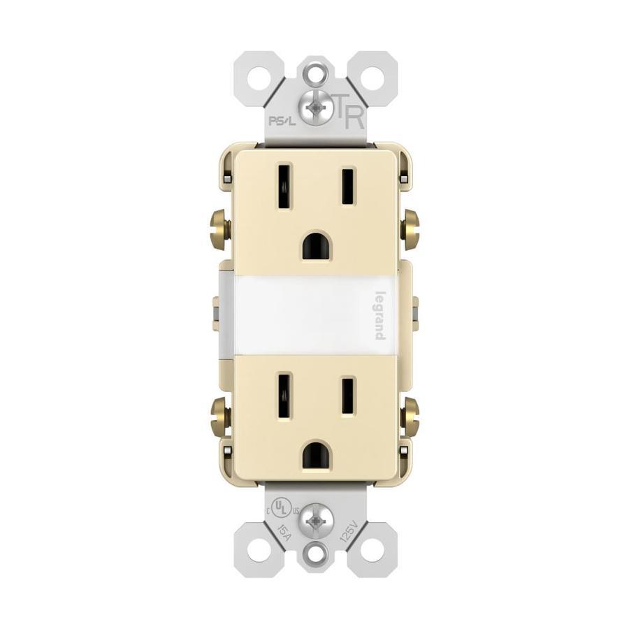 Legrand Radiant 15-Amp 125-Volt Light Almond Indoor Decorator Wall Tamper Resistant Outlet