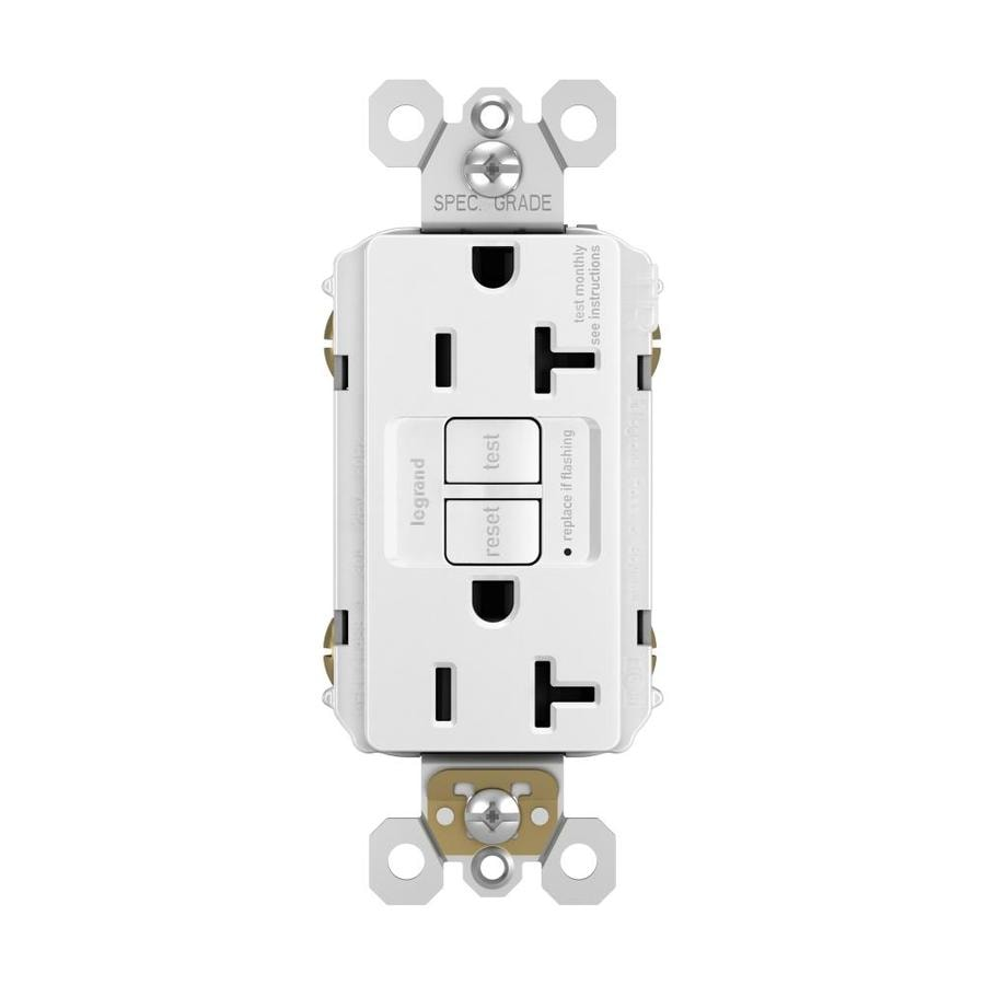 Pass & Seymour/Legrand 20-Amp 125-Volt White GFCI Decorator Tamper Resistant Electrical Outlet