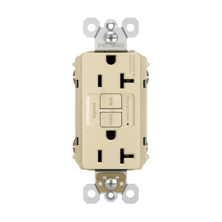 Pass & Seymour/Legrand 20-Amp 125-Volt Ivory GFCI Decorator Electrical Outlet