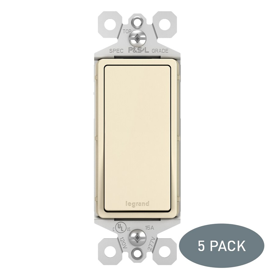 Legrand Radiant 5-Pack 15-Amp 3-Way Light Almond Indoor Rocker Light Switches