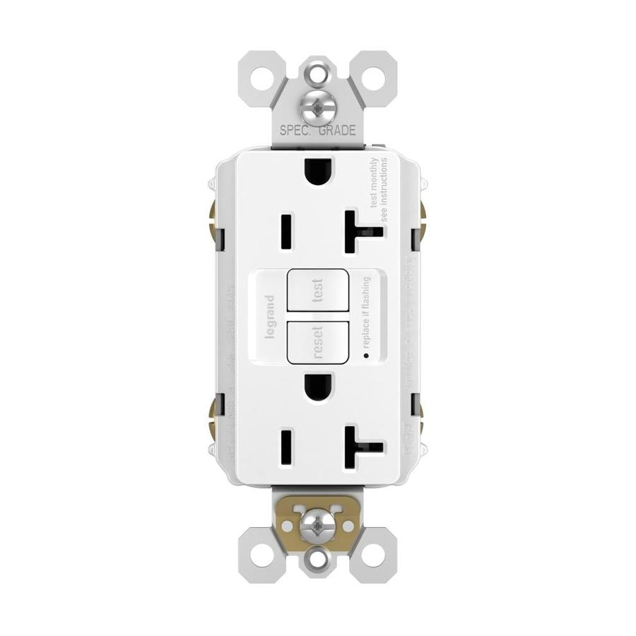 Legrand Radiant 20-Amp 125-Volt White Indoor GFCI Decorator Wall Outlet