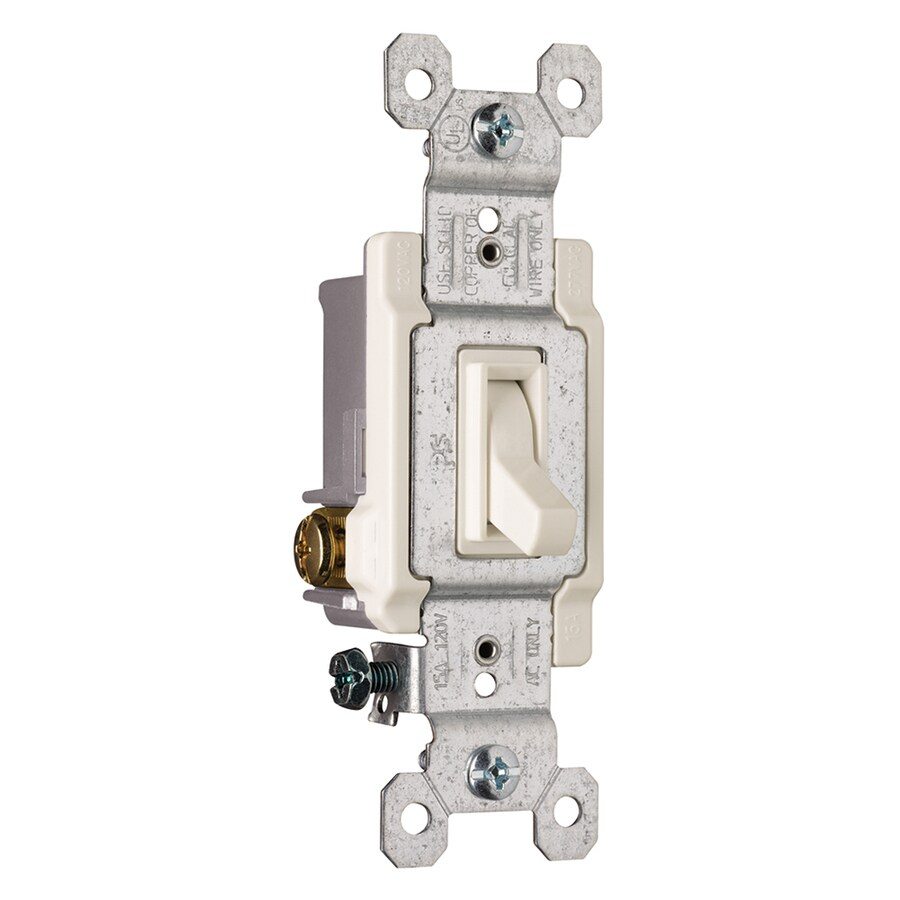 Legrand 15/20-Amp 3-Way Single Pole Light Almond Indoor Framed Toggle Light Switch