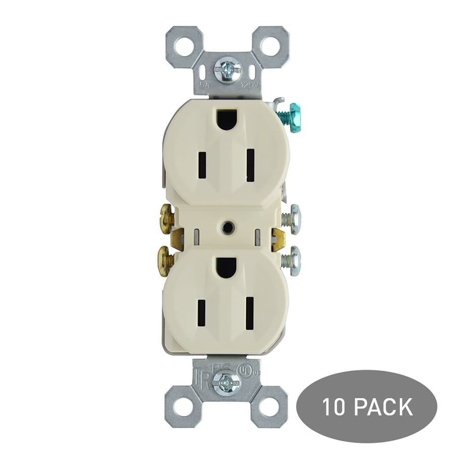 Legrand 10-Pack 15-Amp 125-Volt Light Almond Indoor Duplex Wall Tamper Resistant Outlet