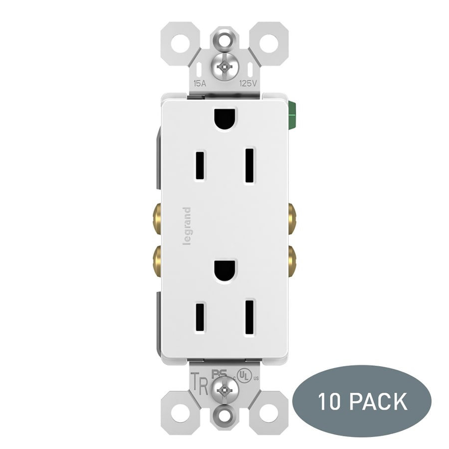 Pass & Seymour/Legrand Radiant 10-Pack 15-Amp 125-Volt White Indoor Decorator Wall Tamper Resistant Outlet