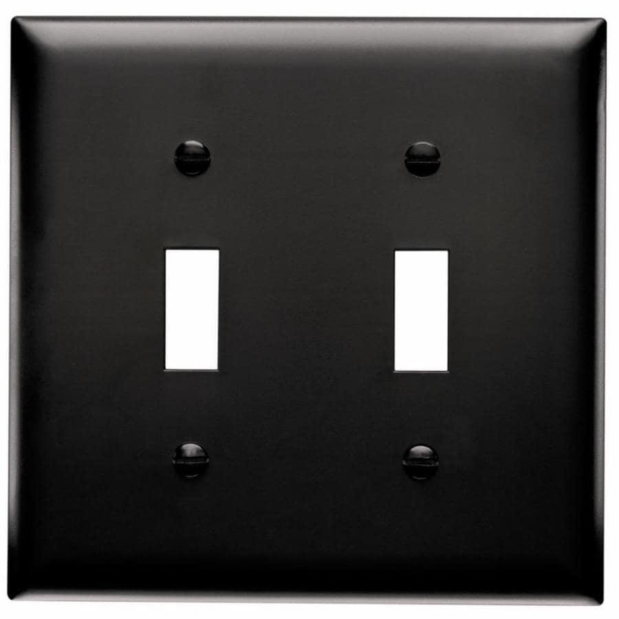 Pass & Seymour/Legrand Trademaster 2-Gang Black Double Toggle Wall Plate