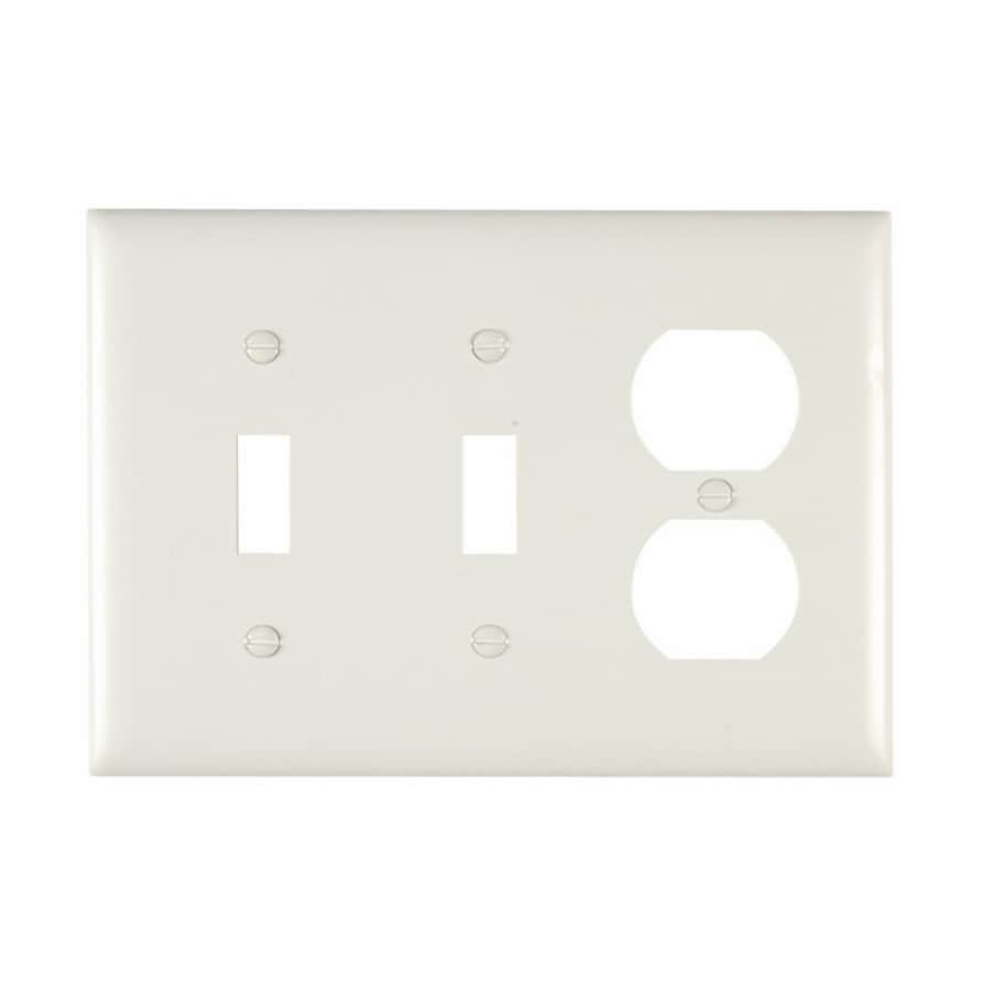 Pass & Seymour/Legrand Trademaster 3-Gang White Triple Toggle/Duplex Wall Plate
