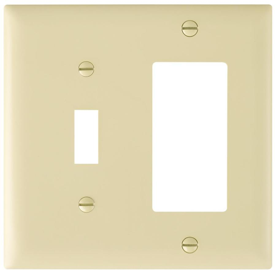Pass & Seymour/Legrand Trademaster 2-Gang Ivory Double Toggle/Decorator Wall Plate