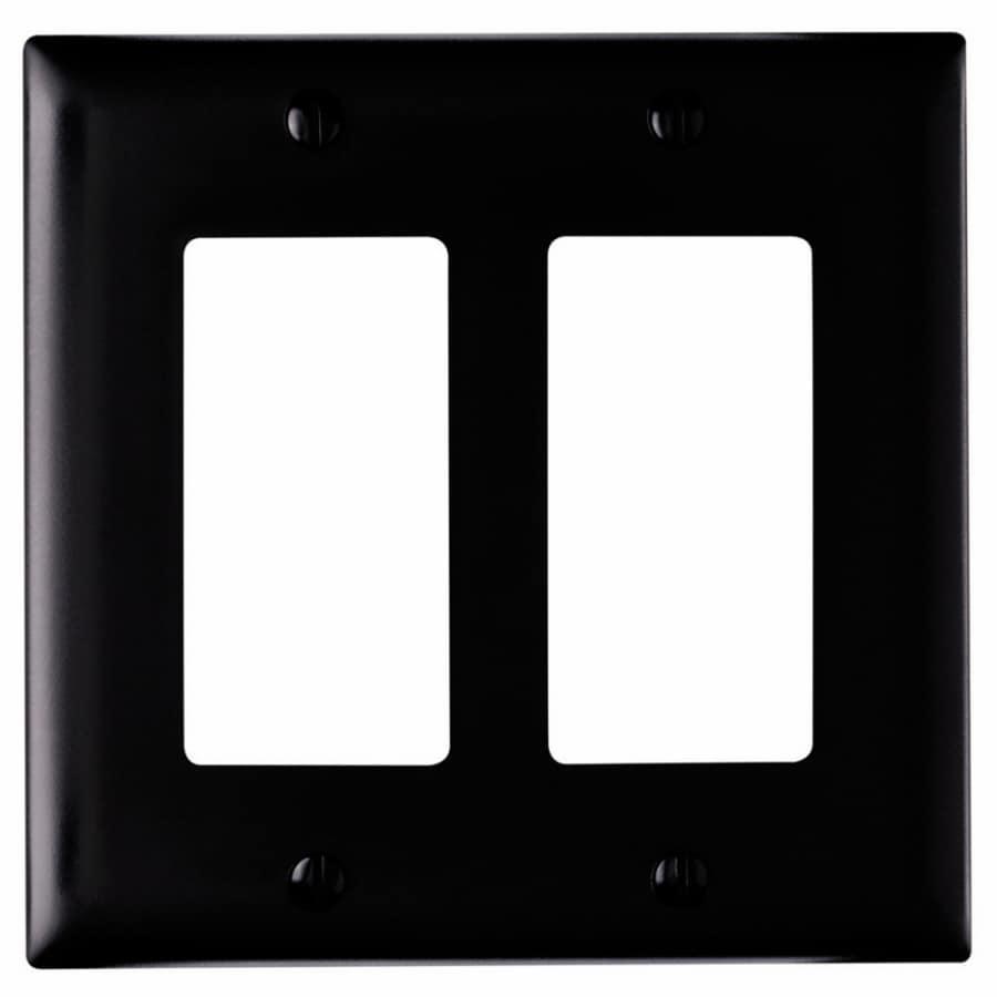 Pass & Seymour/Legrand Trademaster 2-Gang Black Double Decorator Wall Plate