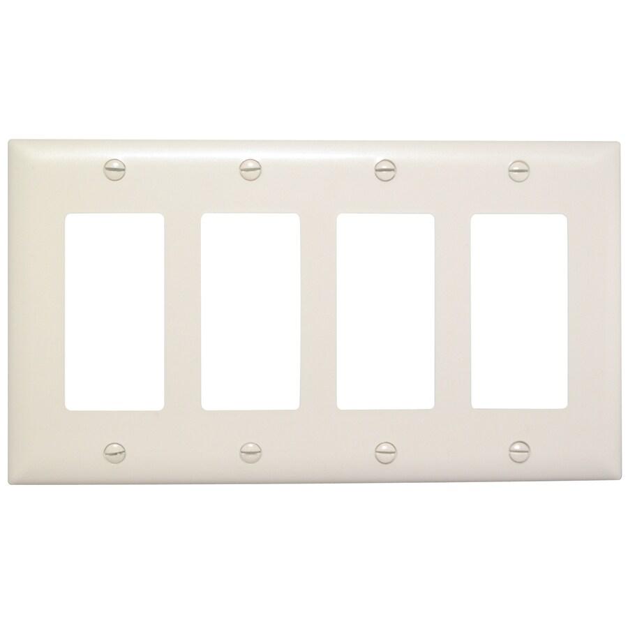 Pass & Seymour/Legrand Trademaster 4-Gang Light Almond Quad Decorator Wall Plate