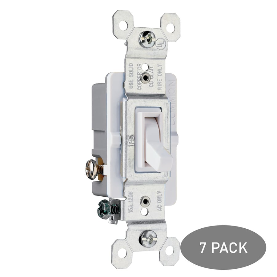 Legrand 7-Pack 15-Amp 3-Way White Indoor Framed Toggle Light Switches